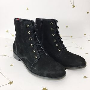 Sperry • Black Suede Adeline Lace Up Boots Booties